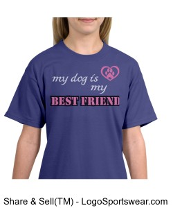 My Dog Is My Best Friend Youth T-Shirt Design Zoom